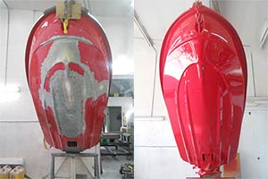 Jet Ski Damage Repair Professionals - Before and After of Jetski Hull Damage Repair and Paint