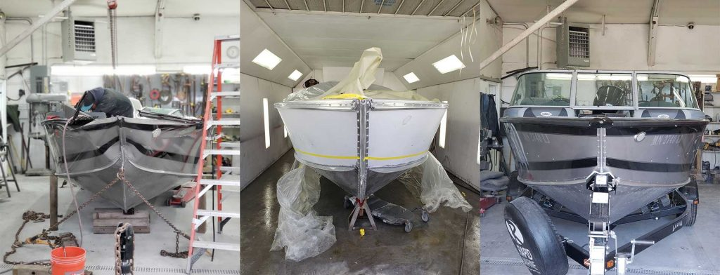 Boat Repair Estimates in Minneapolis MN - Lund Collision Damage - Before, During, and After Repairs & Paint - Front View